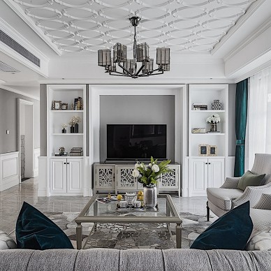 轻奢美式三居客厅电视墙设计