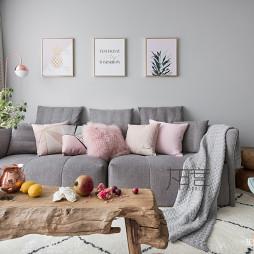 清新北欧风三居客厅沙发墙设计