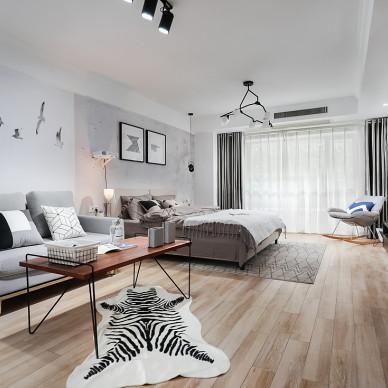 黑白灰现代小户型客厅设计