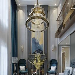 现代美式别墅客厅吊顶设计