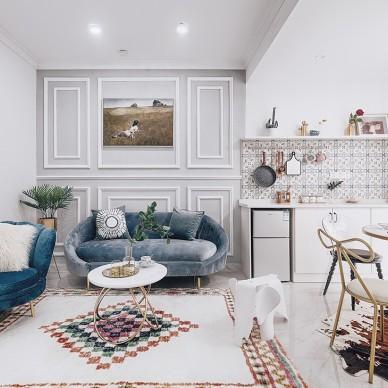 现代美式二居客厅设计