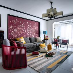 清雅中式三居客厅沙发背景墙设计