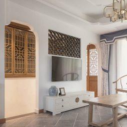 徽派中式四居客厅背景墙设计