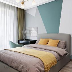 质感现代三居卧室背景墙设计