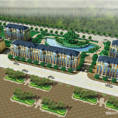 建筑外景园林厂房鸟瞰图10_3328462