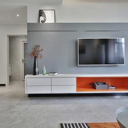 靓丽混搭二居电视背景墙设计