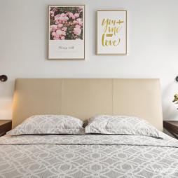 清爽简约三居卧室背景墙设计