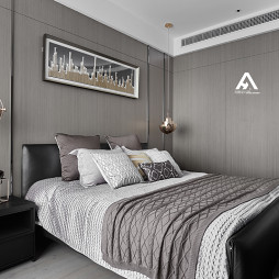 极简现代卧室背景墙设计
