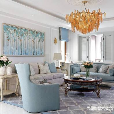 清梦满屋美式风别墅设计客厅设计图