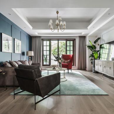 素美-美式风三居客厅设计图
