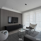 黑白现代三居客厅图