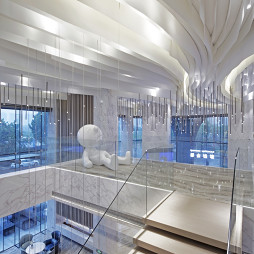 新现代主义销售展示中心楼梯设计实景图