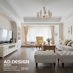 美式三居-客廳設計實景