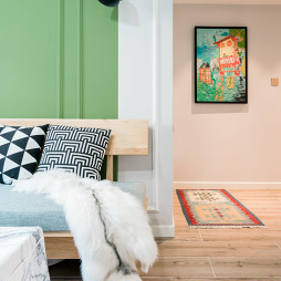 北欧风格客厅与过道设计