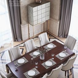 美式风格高贵餐饮客厅俯视设计图
