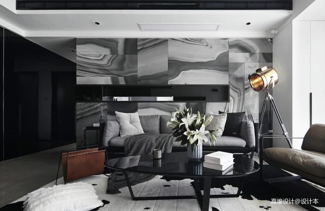 现代风三居沙发背景墙装修设计图