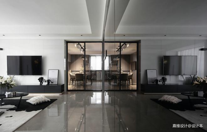 现代风三居客餐厅装修设计图