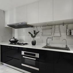 黑白的现代风格三居室厨房设计