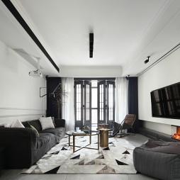 复古现代客厅全景图