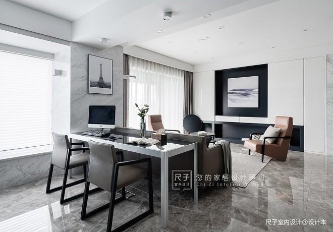 现代四居客厅办公区设计