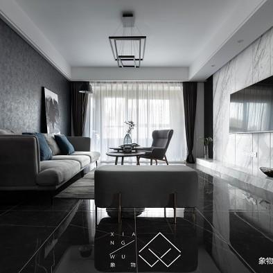 黑色系现代客厅设计图