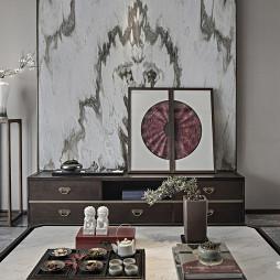 高级中式样板房客厅装饰画设计
