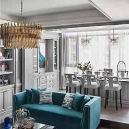 经典美式客厅餐厅一体设计