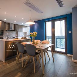 蓝色系开放式厨房设计