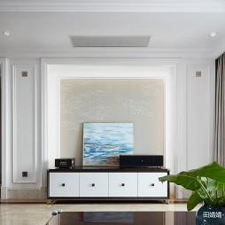 混搭風豪宅客廳電視墻設計