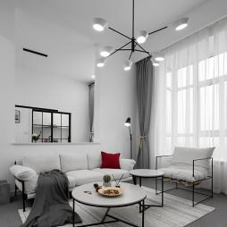 106㎡极简北欧客厅吊灯设计