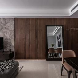 现代二居客厅背景墙实景