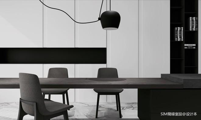 黑白現代餐廳實景