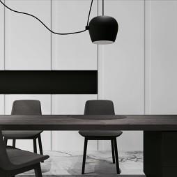 黑白现代餐厅实景