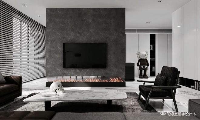 黑白現代客廳背景墻設計