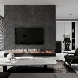 黑白现代客厅背景墙设计