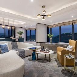 三亚鸿洲天玺顶层豪宅客厅吊灯设计