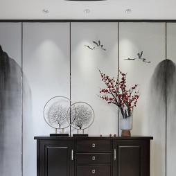 低奢中式玄关储物柜设计