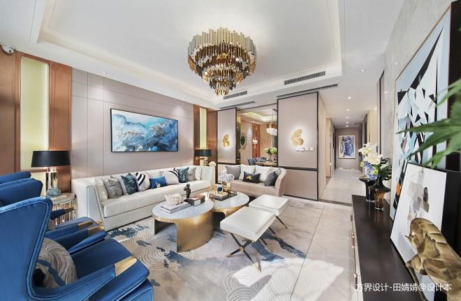 现代样板房客厅吊灯设计实景图