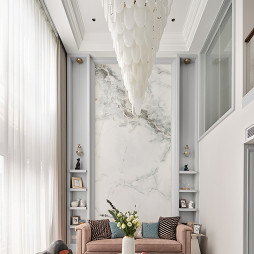 美式轻奢复式客厅图片