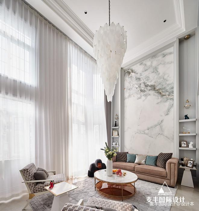 美式轻奢复式客厅吊灯图片