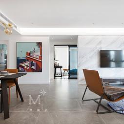 138㎡现代简约客厅餐厅一体设计