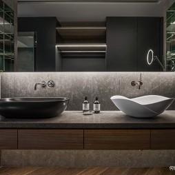 Double Core现代别墅卫浴洗手台设计图