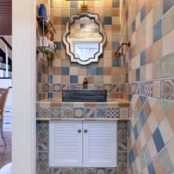 十二克拉美式别墅卫浴洗手台图