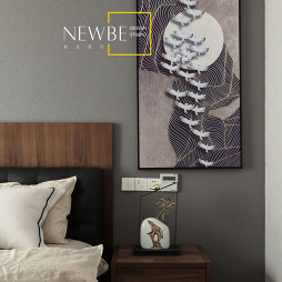 中式二居卧室挂画图