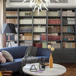 简美复式客厅书柜设计图