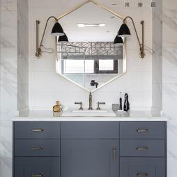 简洁美式复式卫浴洗手台设计