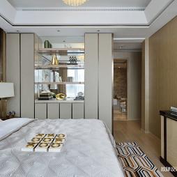 现代轻奢样板房卧室展示柜设计图