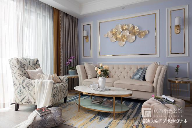 美式精致客厅背景装饰图片