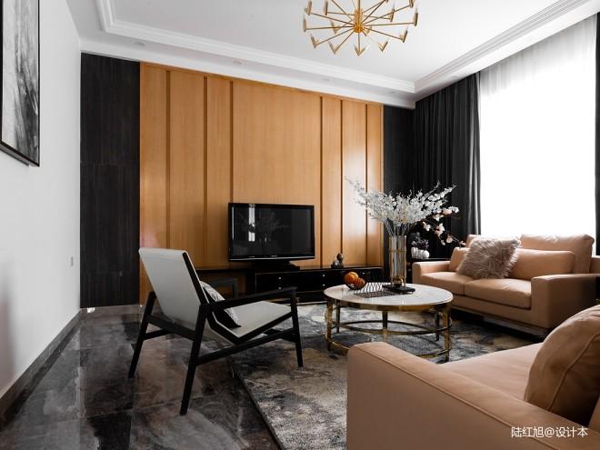 现代自建别墅客厅背景墙设计