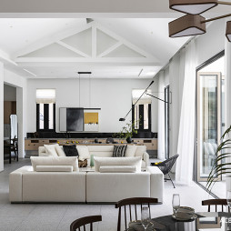 现代别墅客厅实景图